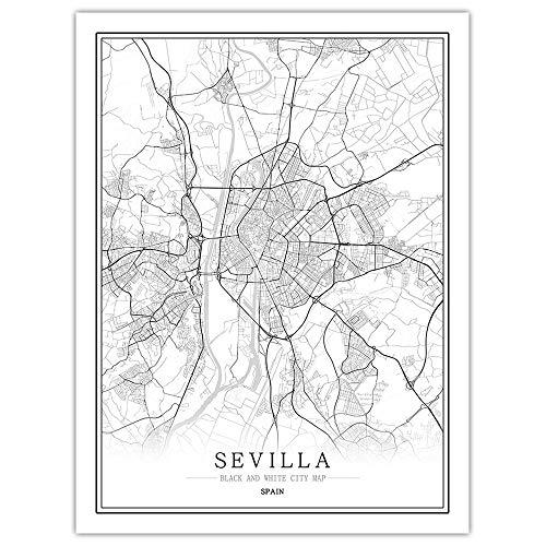 ZSHSCL kunstdruk op canvas, Sevilla, eenvoudig, zwart, wit, World City Map Poster Nordic Wall Art afbeeldingen bedrukt canvasafbeelding voor decoratie woonkamer slaapkamer bibliotheek gang 50×70cm