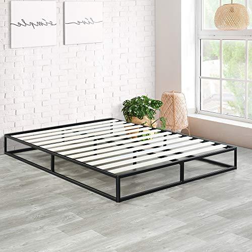 Olee Sleep 9 Inch Modern Metal Platform Bed Frame / Wooden Slats / Mattress Foundation / Wood Slat Support / No Box Spring Needed, King, Black