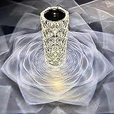 Hidyliu Elegante lámpara de mesa de cristal plateado, 3 vías, intensidad regulable, luz nocturna LED, material acrílico, con enchufe USB, para dormitorio, salón, mesa auxiliar, café (21,5 x 9 cm)