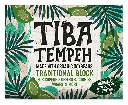 Tiba Tempeh Organic Traditional Block 200g (Pack of 4). Natural Plant-Based...