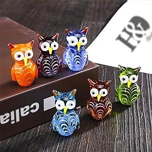 YYBF Juego de 6, búhos Lindos Hechos a Mano de Cristal de Murano soplado Mini pájaro Animal figuritas decoración de Escritorio de Oficina en casa decoración Regalos