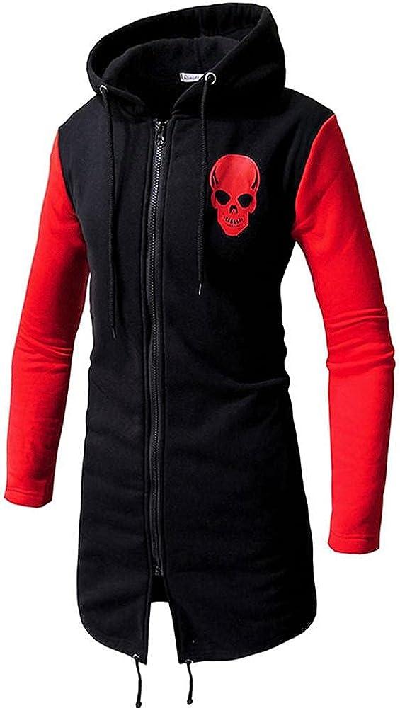 JSPOYOU Men'S Hoodies Coat Slim Fit Zip Up Long Jacket Fashion Plus Size British Style Breathable Trench Coats