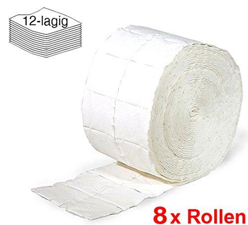 8x Rollen Kosmetex Zellstofftupfer Zelletten, Tupfer, Pads aus hochgebleichtem Zellstoff 12-lagig, 5x4 cm, 4000 Stück, 8 Stück