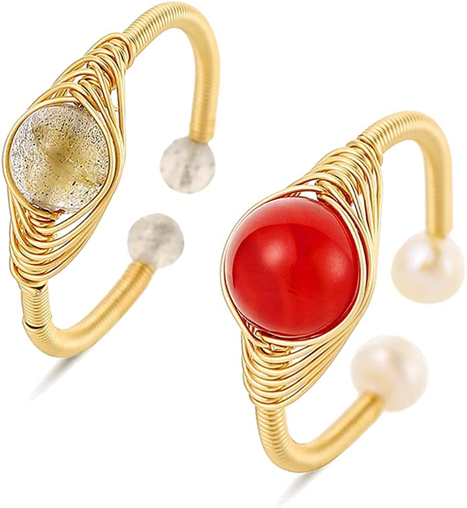 SOOWOOT 2PCS Carnelian Crystal Ring - Healing Crystal Gold Ring Adjustable Wire Wrap Crystal Ring Statement Stacking Band Ring for Women Men