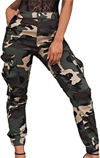 LKOUS Casual Joggers High Waisted Cargo Camouflage Camo Hiking Pants for Women with Pockets