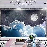 カスタム壁画 3D mural wallpaper wall sticker 月の星空の風景 リビングルームテレビソファの背景の壁の装-120x100cm/47x39inch