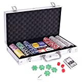 DHOUTDOORS Playing Cards Pokerkoffer Pokerset mit 300 Standard Pokerchips Poker Chips im Alu Koffer