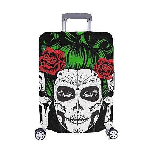 (Solo Cubrir) Dead Girl Two Sugar Skulls Pattern Maleta con Ruedas Maleta Protectora para Viaje Maleta Cubierta Protectora para 28.5 X 20.5 Inch