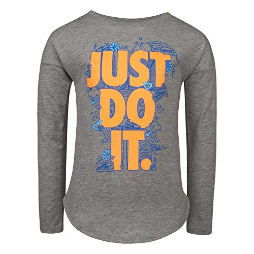 NIKE Children's Apparel Girls' Little Long Sleeve JDI Graphic T-Shirt, Dark Grey Heather/Orange/Blue, 4