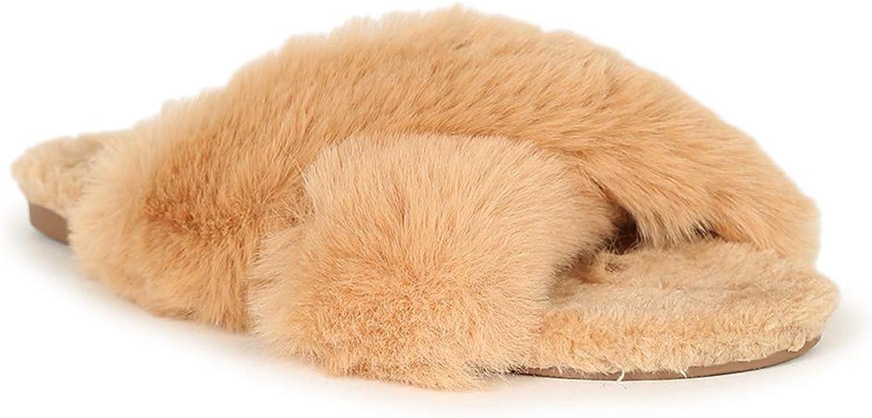 Lucita Criss Cross Faux Fur Slide Sandal 20480 - Camel Fur (Size: 9.0)