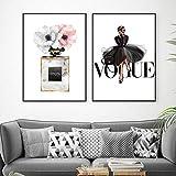 Mode Noir Robe Toile Affiche Nordique Mur Art Parfum avec Fleur Imprimer Peinture Décoration Image Décor À La Maison-50x70 cm x 2 sans Cadre
