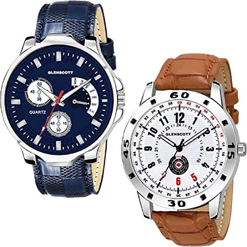 GLENSCOTT Combo Pack of 2 Attractive Blue and Brown Analog Watch - for Men