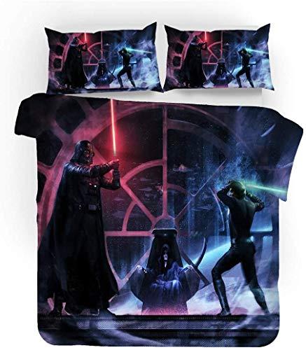 QWAS Juego de ropa de cama de la serie Star Wars de 100% microfibra, funda nórdica para niños, dibujos animados, juego de 3 piezas (A3, 200 x 200 cm + 50 x 75 cm x 2).