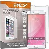 REY 3X Protector de Pantalla para Samsung Galaxy C8 / Galaxy C7 Plus, Cristal Vidrio Templado Premium