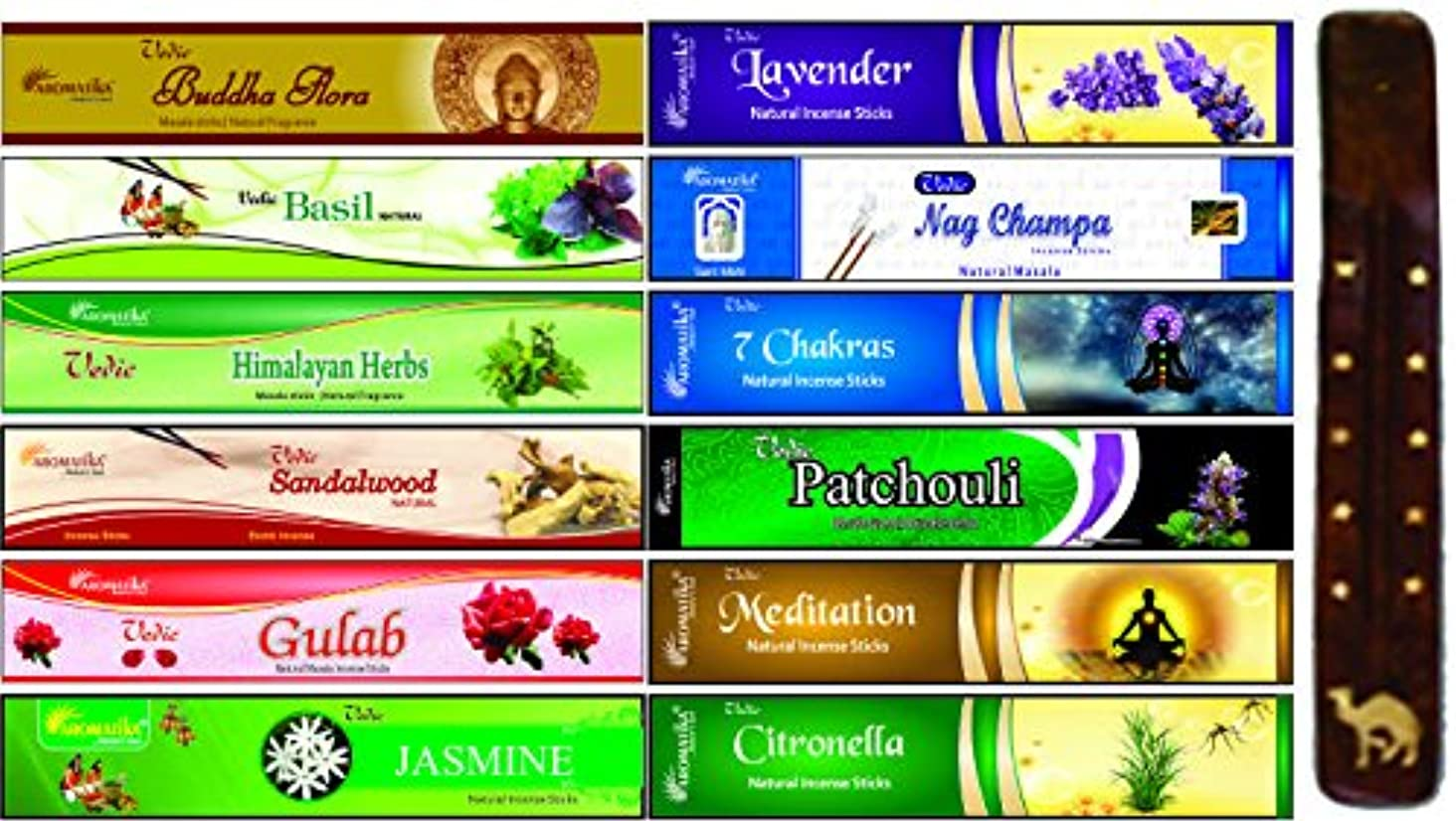 原油カップル地中海aromatika 12?Assorted Masala Incense Sticks with 10インチLong木製香炉