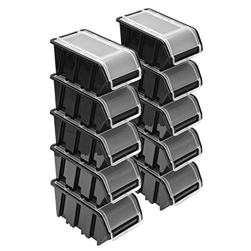 Stapelboxen Set – 10x Stapelbox mit Deckel 230x160x120 mm – Sichtbox Stapelbox Lagerbox, Schwarz
