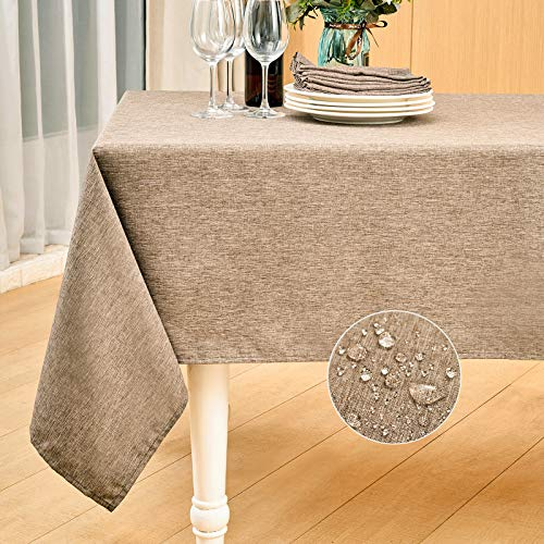 Mebakuk Rectangle Table Cloth Linen Farmhouse Tablecloth Waterproof Anti-Shrink Soft and Wrinkle Resistant Decorative Fabric Table Cover for Kitchen (Oblong 52 x 70 Inch (4-6 Seats), Flaxen)
