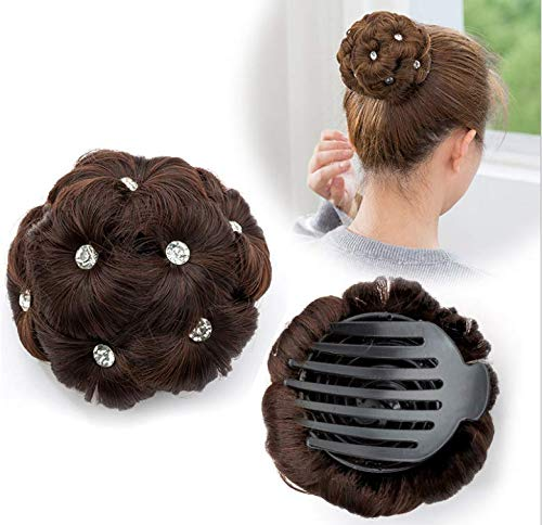 Yudit Rhinestone Clip in Hair Ponytail Extensions Bun Donut Hairpieces for Women (Dark brown)