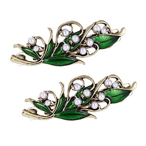 Hellery 2 Stücke Vintage Chic Fashion Metall Perlen Grüne Blätter Haarspange Haarspangen Perle Haarnadel Haarspange Krallen Frauen Haar Styling Werkzeug