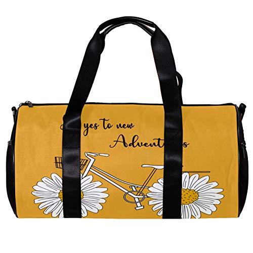 Runde Sporttasche mit abnehmbarem Schultergurt, Gänseblümchen mit Zitaten und Fahrrad-Design, Trainings-Handtasche für Damen und Herren