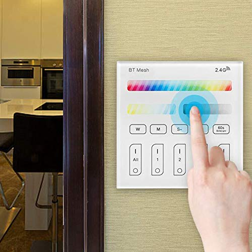 Controlador de panel inteligente inalámbrico de 2,4 G para controlador inteligente de 4 zonas RGBW + RGBWC + CCT 100-240 V interruptor táctil regulador