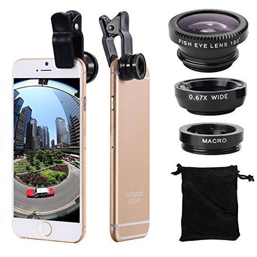 JSP fisheye, 3in 1kit di lenti clip-on 180gradi fisheye + 0.67X grandangolo + 20x lente macro (3diverse lenti per iPhone 7/6Plus/6s/5/se LG HTC Huawei Samsung e altri smartphone)