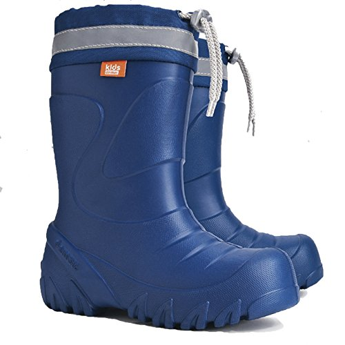 Demar Kids Boys Girls Wellington Boots Rainy Snow Wellies Ultra Light EVA Warm Liners Ultralight (5-6 UK / 22-23 EU - 14.5 cm, Blue)