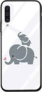 Alsoar - Carcasa para Samsung Galaxy A50 (Marco de Silicona Transparente Tapa abatible Vidrio Templado para Samsung Galaxy A50)