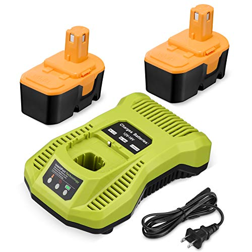 Replacement 2Pack 3.7Ah 18V Battery ONE+ P100 P101 Cordless 18V Batteries + P117 One+ 18 Volt Dual Chemistry IntelliPort Charger Li-ion Ni-cad Battery Charger