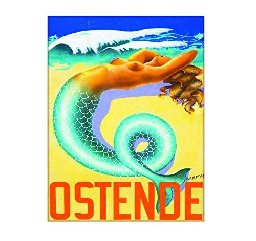 Ecool Ostende Belgien Meerjungfrau Reisewerbung Retro Shabby Chic Vintage Stil Bild Metallschild Wandschild 200 mm x 150 mm