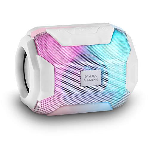 Mars Gaming MSBAXW, Altavoz Bluetooth RGB, Compacto,10W, USB/MicroSD/Radio, Blanco