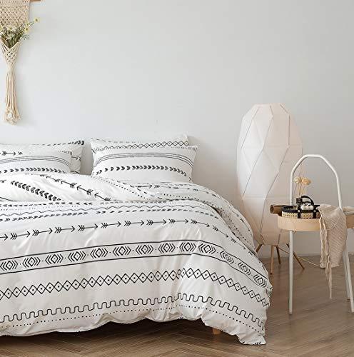 Damier Ropa de cama de 200 x 220 cm, funda nórdica con diseño de rayas geométricas, juego de 3...