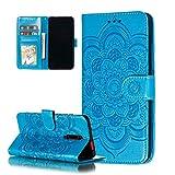 COTDINFOR Etui für Nokia 2.2 Hülle PU Leder Cover Schutzhülle Magnet Tasche Flip Handytasche im Bookstyle Stand Kartenfächer Lederhülle für Nokia 2.2 Blue Mandala LD.
