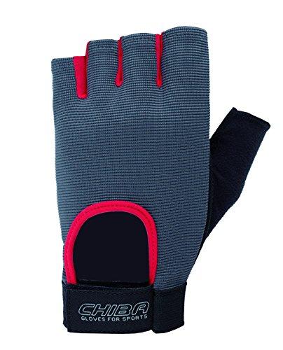 Chiba Unisex's Fit Glove, Dark Grey/Red, Large