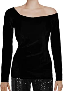 Stretch Lace or Velvet Long Sleeve Off The Shoulder Blouse Top