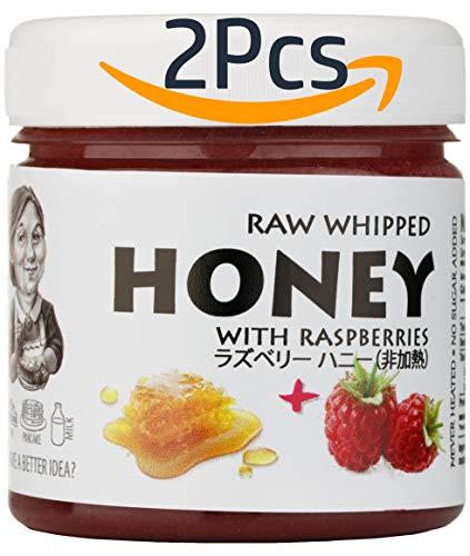 【Amazon.co.jp限定】 はちみつ 蜂蜜 ハチミツ 生 2個組 セット (生はちみつ 200g、ラズベリーハニー200g) Raw Honey 200g & Raspberry raw honey 200g
