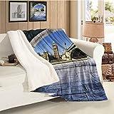 EMODFJCXZ London Cozy Flannel Blanket Big Ben Through a Tunnel Light and Warm Twin (60 x 80 Inch)