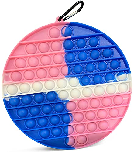 Big Size Fidget Popper Spielzeug Silikon Bubble Pop Fidget Spielzeug Jumbo sensorisches Spielzeug zur Linderung von Stress für Autismus Kinder und Erwachsene Runde Form 19 cm (Pink & Blau)
