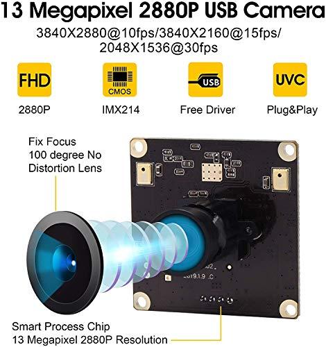 ELP 13 Megapixel Webcam IMX214 Sensor Ultra HD PC Web Kamera mit 100 Grad No-Distortion Objektiv Mini Kamera 3840x2880@10fps für Mac/Linux/Raspberry Pi,USB Videokonferenz 4K Webkamera USB13M02-V100