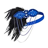IWILCS 1920 bandeau Gatsby costume accessoires années style Charleston bande de cheveux, coiffure de plumes de mariée, dames carnaval costume accessoires bande de cheveux plume, bleu