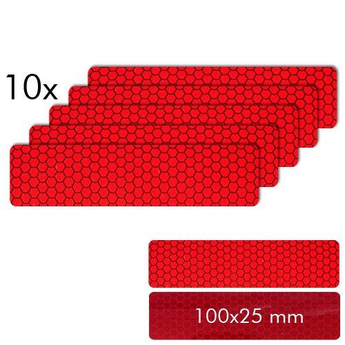Motoking Reflektorenaufkleber, ROT, 10 Stück á 100 x 25 mm für Schutz & Sicherheit in der Dunkelheit