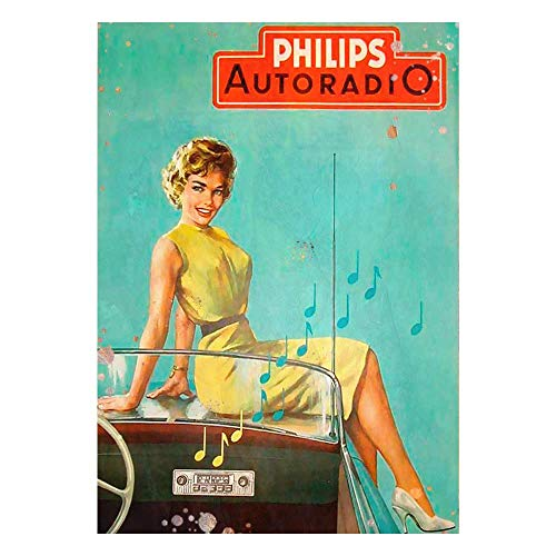 BNIST Philips Auto Radio Vintage Style Colorfast Metal Wall Sign Living,Tin Sign Plaque Poster Wall Art Decoration for Outdoor Cafe Bar Restaurant Pub
