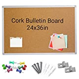 SSubcolo Cork Bulletin Board - Aluminum Frame, 10 Pins, Pen Tray - Self-Healing 8.5mm Fiberboard for Office Memo, School Message, Work Notice Reminder - Vertical or Horizontal Hanging - 24x36 Inches