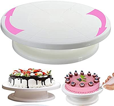 FLAIR ROUND CAKE TURNER STAND Big,Plastic,White