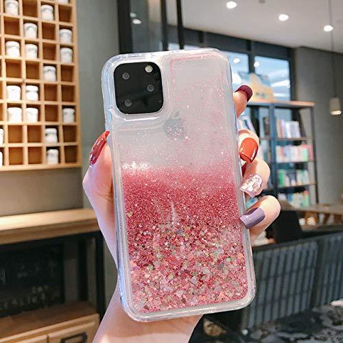DEIOKL Liquid QuicksandGlitter Funda para teléfono para iPhone 11 Pro MAX XS X XR 6 6S 8 7 Plus 5 5S SE Funda de Silicona con Brillo de Agua, Love Heart Pink, para iPhone XS MAX