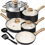 MICHELANGELO Pots and Pans Set 12 Piece, Ultra Non-Stick Stone...