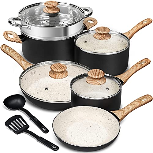 MICHELANGELO Pots and Pans Set 12 Piece, Ultra Non-Stick Stone Cookware Set with Spatula & Spoon, Granite Pots and Pans, Nonstick Pots and Pans Set 10pcs, White