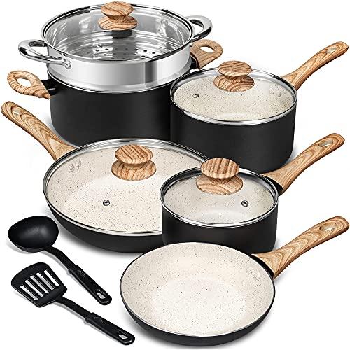 MICHELANGELO Pots and Pans Set 12 Piece, Ultra Non-Stick...