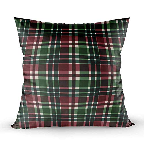 WH-CLA Couch Cushions Tela Escocesa Verde Roja Tela Escocesa De Temporada En Cuadrado Vintage Regalo De Cumpleaños Suave Estándar Impresión A Doble Cara Fundas De Almohada Ropa De Cama C