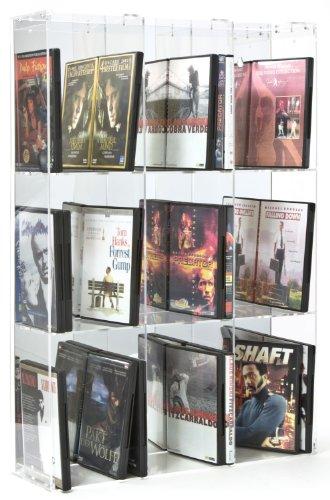 Scaffale modulare per DVD in acrilico con pannello posteriore a specchio